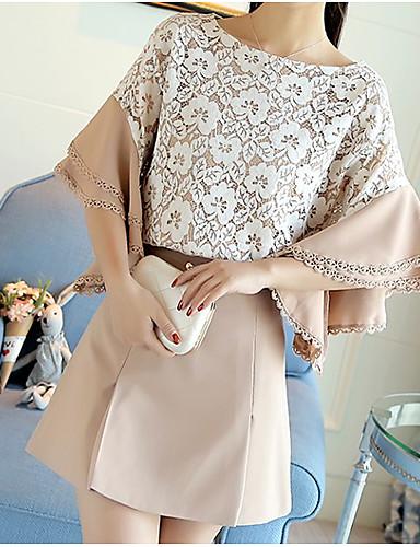 Damen Spitze Aktiv Ausgehen Lässig/Alltäglich Bluse Rock Anzüge,Rundhalsausschnitt Sommer ¾ Ärmel Mikro-elastisch