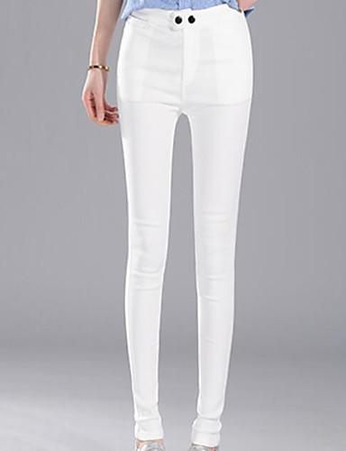 Damen Einfach Mittlere Hüfthöhe Mikro-elastisch Eng Skinny Hose Solide Gestreift