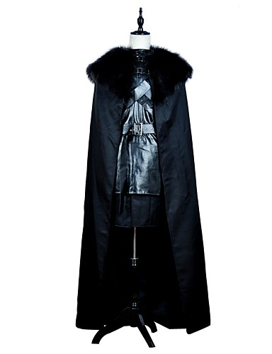 billige Voksenkostymer-Game of Thrones Jon Snow Kostume Herre Film-Cosplay Svart Topp Skjørte Kappe Halloween Karneval PU Leather Polyester