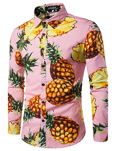 Men's Work Cotton Shirt - Fruit Pineapple, Print / Long Sleeve