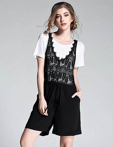 Damen Solide Niedlich Ausgehen T-Shirt-Ärmel Hose Anzüge,Rundhalsausschnitt Sommer Kurzarm Mikro-elastisch