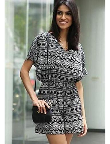 Damen Solide Druck Einfach Lässig/Alltäglich Bluse Hose Anzüge,V-Ausschnitt Sommer Kurzarm