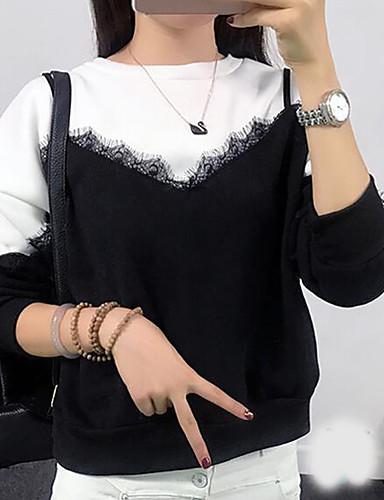 Damen Pullover Lässig/Alltäglich Einfarbig Rundhalsausschnitt Mikro-elastisch Baumwolle Andere Lange Ärmel Herbst Winter