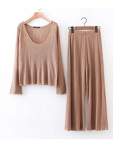 Damen Solide Einfach Lässig/Alltäglich T-Shirt-Ärmel Hose Anzüge,V-Ausschnitt Frühling Lange Ärmel