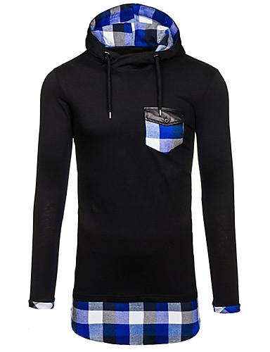 Men's Sports Long Sleeves Hoodie - Color Block, Patchwork Hooded