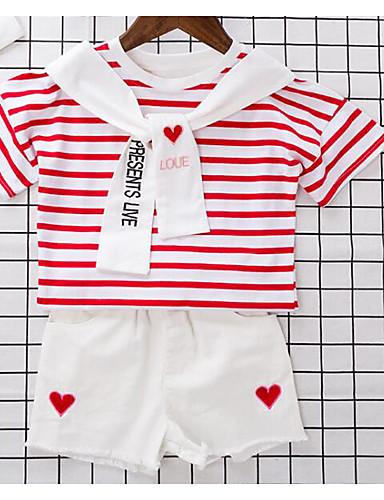 Mädchen Sets Streifen Baumwolle Polyester Sommer Kurzarm Kleidungs Set