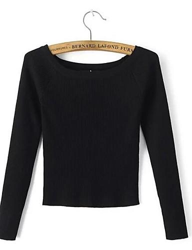 Damen Kurz Pullover-Ausgehen Lässig/Alltäglich Street Schick Solide Gestreift Bateau Langarm Baumwolle Herbst Winter Mittel