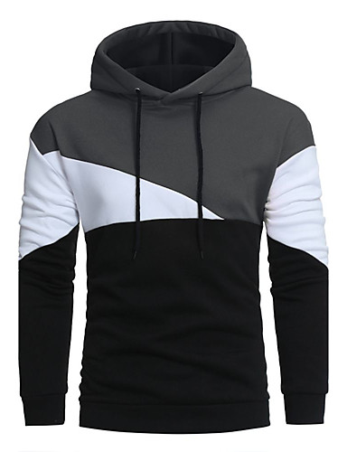 Men's Sports Long Sleeves Long Hoodie - Solid Colored, Patchwork Hooded