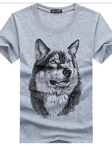 Herrn Solide Gestreift Geometrisch - Aktiv T-shirt, Hemdkragen Baumwolle Leinen