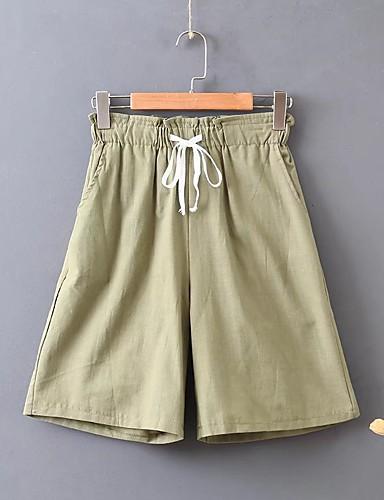 Damen Aktiv Street Schick Mittlere Hüfthöhe Mikro-elastisch Lose Chinos Kurze Hosen Hose,Baumwolle Frühling Sommer Solide