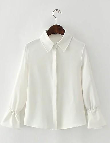 Damen Solide Einfach Street Schick Ausgehen Lässig/Alltäglich Arbeit Hemd,Hemdkragen Sommer Langarm Baumwolle Acryl Polyester Dünn Mittel