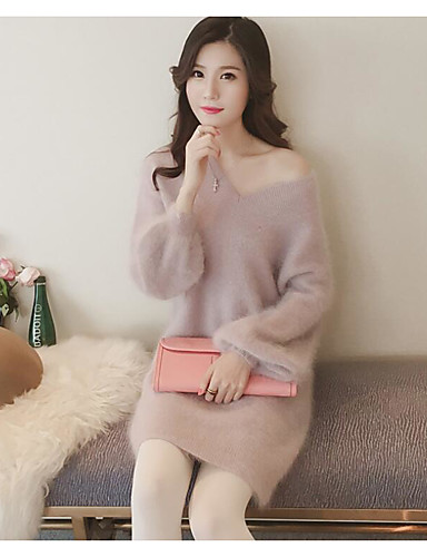 Damen Lang Pullover-Ausgehen Lässig/Alltäglich Solide V-Ausschnitt Langarm Baumwolle Frühling Herbst Mittel Mikro-elastisch