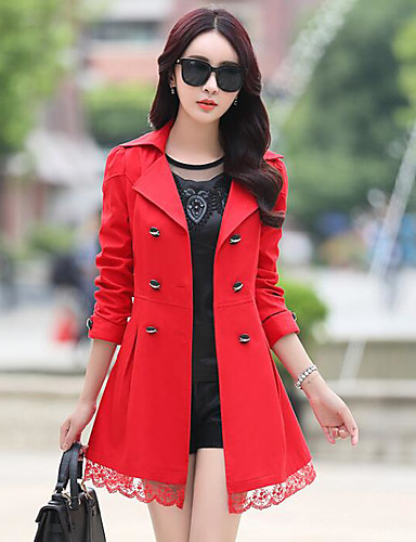 Damen Solide Anspruchsvoll Lässig/Alltäglich Trench Coat,Gekerbtes Revers Herbst Lange Ärmel Lang Polyester