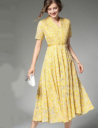 Damen Spitze Swing Kleid-Ausgehen Anspruchsvoll Solide Blumen V-Ausschnitt Midi Kurzarm Acryl Sommer Herbst Mittlere Hüfthöhe Unelastisch