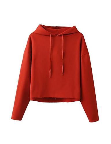 Damen Kapuzenshirt Ausgehen Lässig/Alltäglich Einfach Niedlich Aktiv Solide Mikro-elastisch Baumwolle Lange Ärmel Frühling Herbst Winter