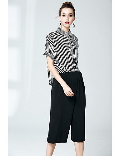 Women's Street chic Shirt - Striped Pant Shirt Collar