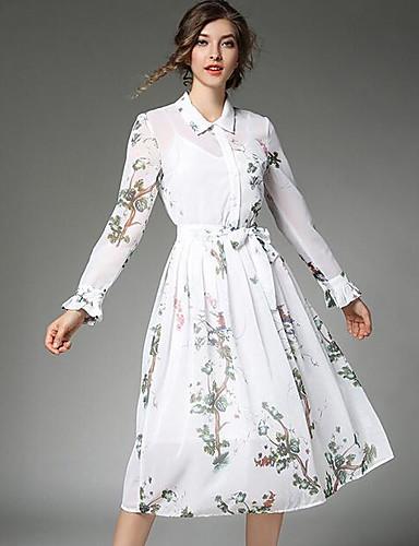 Damen Hemd Kleid Druck Midi Hemdkragen Hohe Hüfthöhe