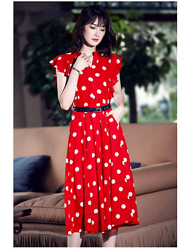 Damen Swing Kleid-Ausgehen Niedlich Punkt V-Ausschnitt Midi Kurzarm Polyester Sommer Mittlere Hüfthöhe Mikro-elastisch Mittel