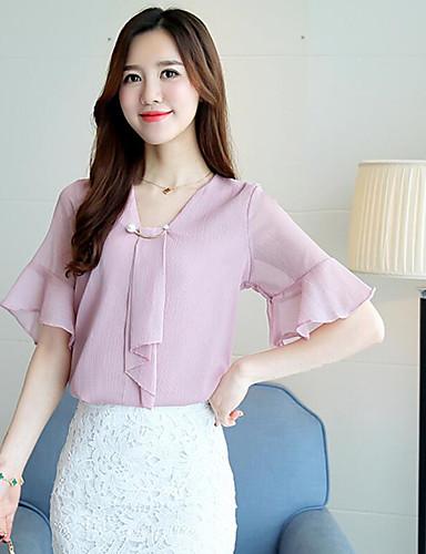 Damen Solide Ausgehen Baumwolle Bluse, V-Ausschnitt