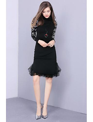 Damen Standard Pullover-Ausgehen Einfach Druck Rundhalsausschnitt Langarm Baumwolle Winter Mittel Mikro-elastisch