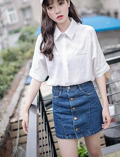 Damen Solide Einfach Ausgehen Shirt Rock Anzüge,Hemdkragen Sommer ¾ Ärmel