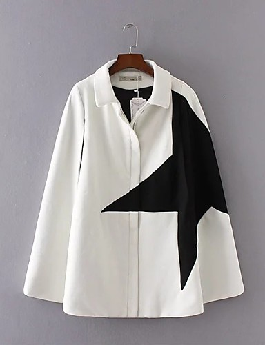 Damen Druck Einfarbig Einfach Ausgehen Lässig/Alltäglich Mantel / Capes,Hemdkragen Winter Herbst Langärmelige Standard Wolle Baumwolle