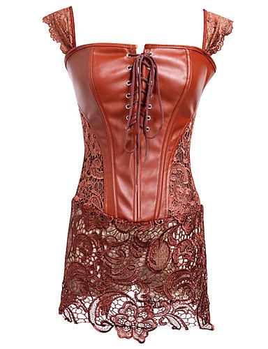 Women's Lace Up Corset Dresses-Solid