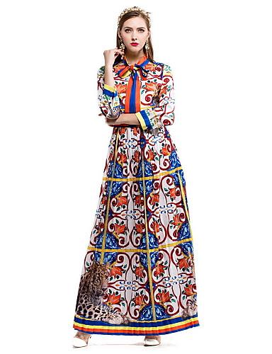 Damen Hülle Swing Kleid-Lässig/Alltäglich Blumen Rundhalsausschnitt Maxi Langarm Baumwolle Herbst Mittlere Hüfthöhe Mikro-elastisch Mittel