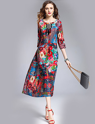 Women's Holiday / Going out Silk Sheath Dress - Floral High Rise / Summer / Fall / Loose