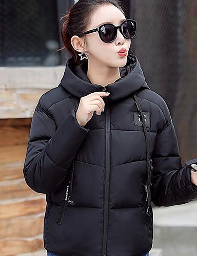 Damen Gefüttert Mantel,Kurz Einfach Lässig/Alltäglich Solide-Baumwolle Polypropylen Langarm