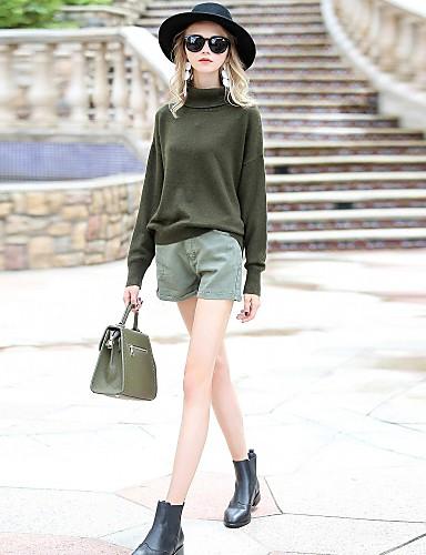Damen Standard Pullover-Ausgehen Lässig/Alltäglich Einfach Solide Rollkragen Langarm Polyester Andere Herbst Winter Mittel Mikro-elastisch