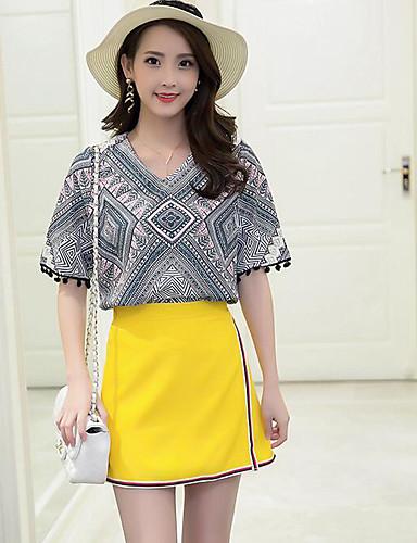 Damen Muster Grafik Mit Mustern Anspruchsvoll Ausgehen Shirt Rock Anzüge,V-Ausschnitt Sommer ½ Ärmel