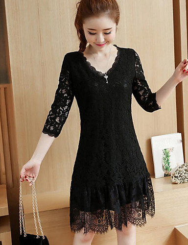 Damen Spitze Kleid-Ausgehen Solide V-Ausschnitt Übers Knie 3/4 Ärmel Baumwolle Herbst Mittlere Hüfthöhe Mikro-elastisch Mittel