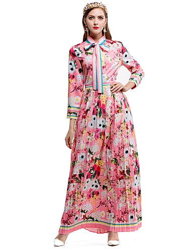 Damen Hülle Swing Kleid-Lässig/Alltäglich Blumen Hemdkragen Maxi Langarm Baumwolle Herbst Mittlere Hüfthöhe Mikro-elastisch Mittel
