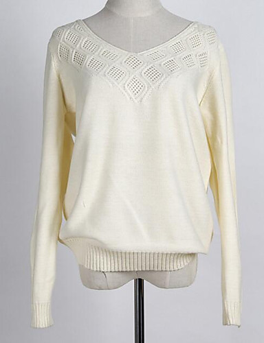 Damen Baumwolle Langarm Pullover - Solide V-Ausschnitt