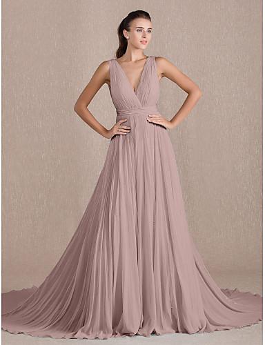 abordables robe invitée mariage-Trapèze Col en V Traîne Chapelle Georgette Soirée Formel Robe avec Plissé par TS Couture®