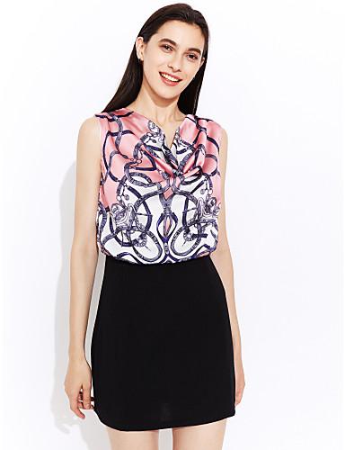 Women's Print Blue/Pink Dress, Casual/Print/Work Cowl Sleeveless