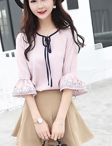 Damen Solide Einfach Lässig/Alltäglich Bluse,V-Ausschnitt Kurzarm Polyester