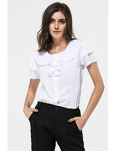 0047d91e6e92d Kadın's Gömlek Fırfırlı, Solid Büyük Bedenler Beyaz XXXL / Yaz
