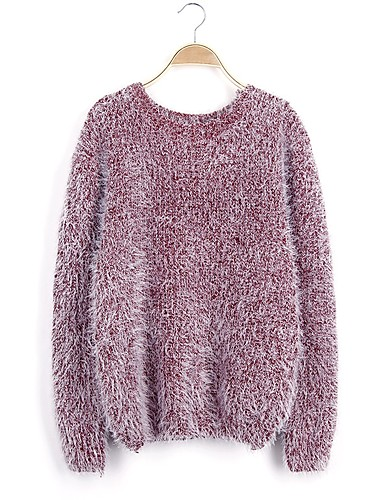 Women's Going out Long Sleeves Mohair Pullover - Solid Colored