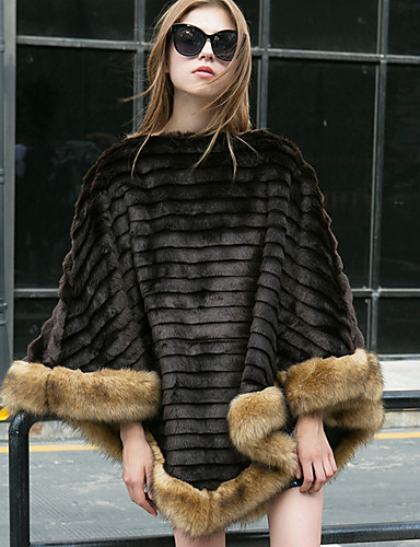 Women's Going out Fall / Winter Regular Fur Coat, Solid Colored Round Neck Long Sleeve Faux Fur Black One-Size