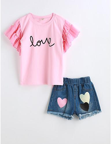 Mädchen Sets einfarbig Baumwolle Sommer Kurzarm Kleidungs Set