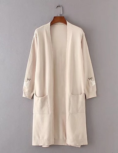 Damen Lang Strickjacke-Ausgehen Lässig/Alltäglich Einfach Solide V-Ausschnitt Langarm Baumwolle Frühling Herbst Dünn Mittel