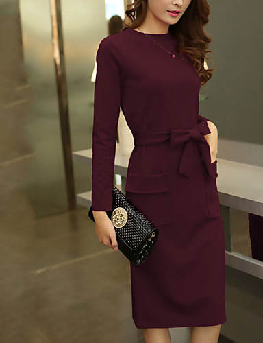 e9bc6df930594 Women s Plus Size Daily Going out Casual Street chic Sheath Dress - Solid  Colored Spring Black Red Purple XL XXL XXXL   Slim