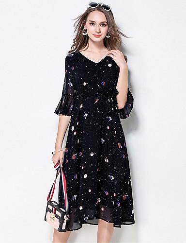 Damen Hülle Kleid-Ausgehen Niedlich Druck V-Ausschnitt Midi Halbe Ärmel Polyester Sommer Mittlere Hüfthöhe Mikro-elastisch Mittel