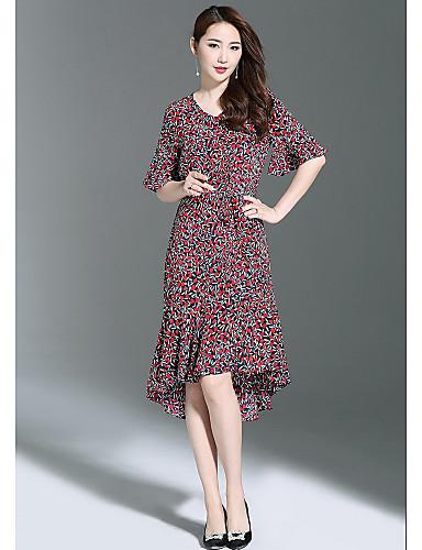 Damen Hülle Kleid-Ausgehen Niedlich Druck V-Ausschnitt Knielang Halbe Ärmel Polyester Sommer Mittlere Hüfthöhe Mikro-elastisch Mittel