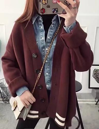 Damen Standard Strickjacke-Ausgehen Lässig/Alltäglich Einfach Niedlich Solide V-Ausschnitt Langarm Baumwolle Frühling Herbst Dünn Mittel