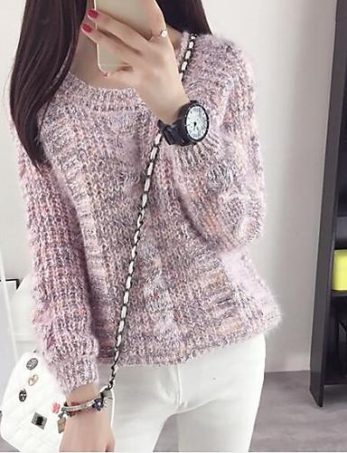 Damen Standard Pullover-Ausgehen Lässig/Alltäglich Einfach Solide Rundhalsausschnitt Langarm Polyester Herbst Mittel Mikro-elastisch