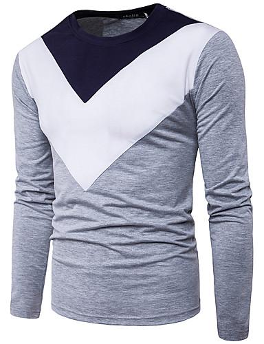 Herren Einfarbig Einfach Ausgehen Lässig/Alltäglich T-shirt,Rundhalsausschnitt Herbst Winter Langarm Baumwolle Polyester