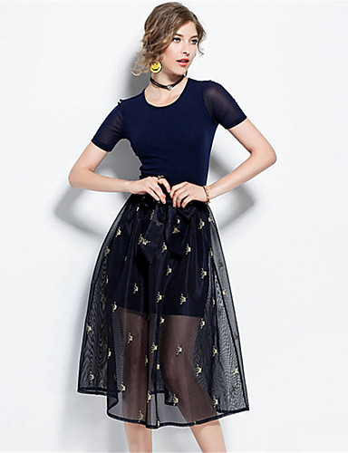 Damen Solide Druck Einfach Lässig/Alltäglich T-Shirt-Ärmel Rock Anzüge,Rundhalsausschnitt Sommer Kurzarm Mikro-elastisch